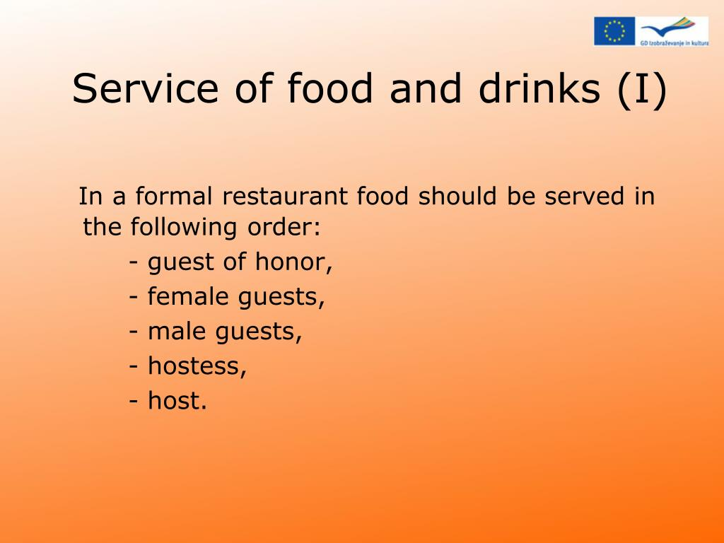 Service of food and drinks (I)