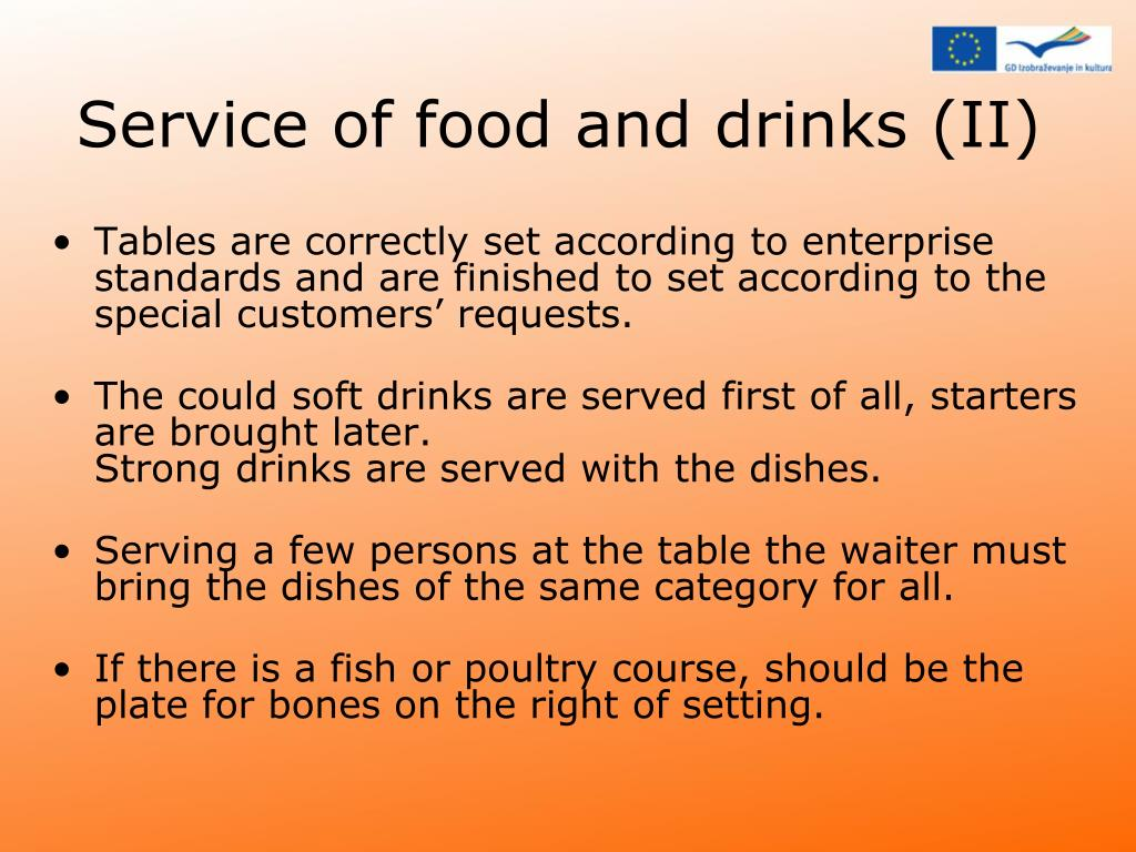 Service of food and drinks (II)