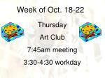 week of oct 18 2210