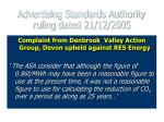 advertising standards authority ruling dated 21 12 2005