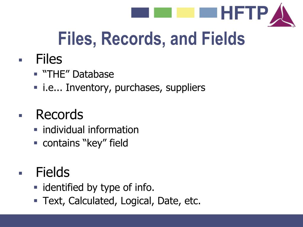 Files, Records, and Fields