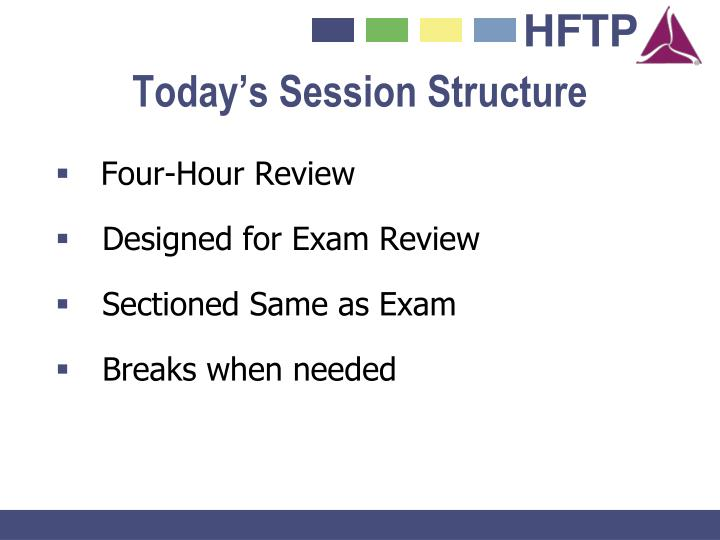 Today s session structure