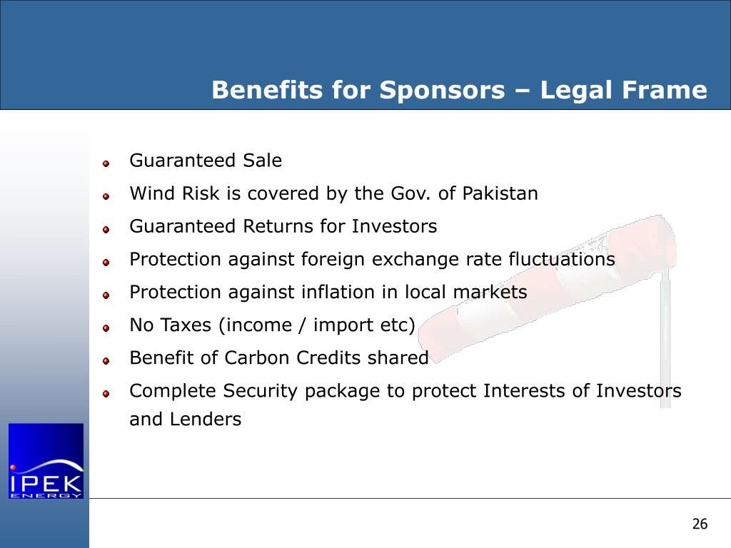 Benefits for Sponsors – Legal Frame