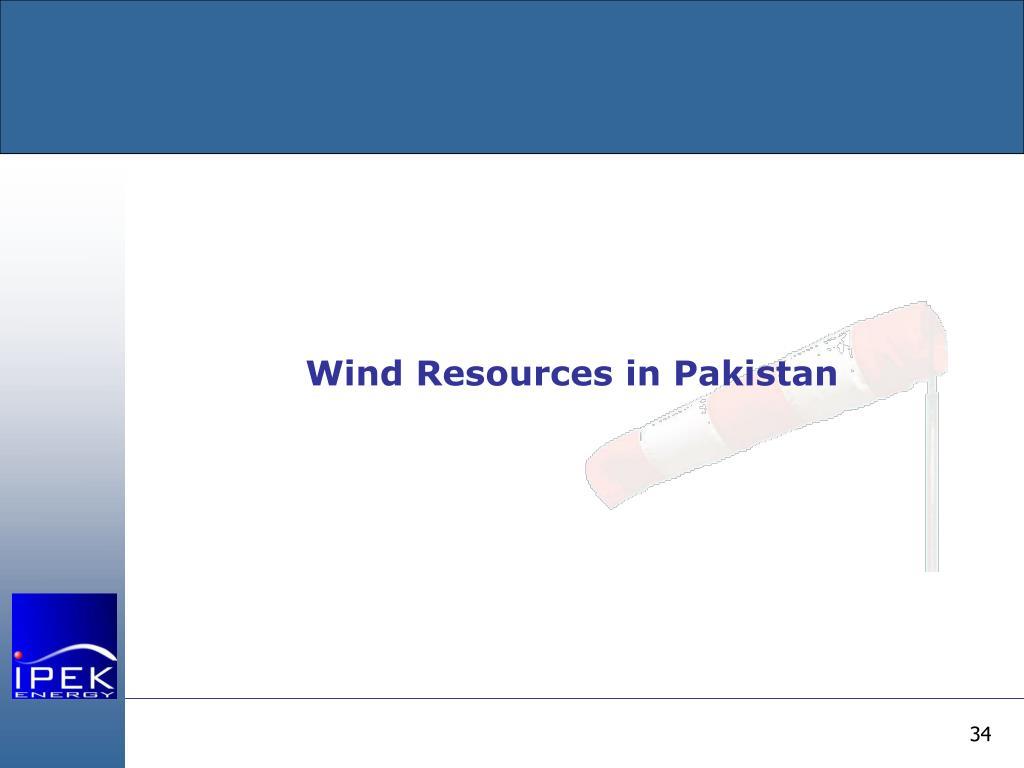 Wind Resources in Pakistan
