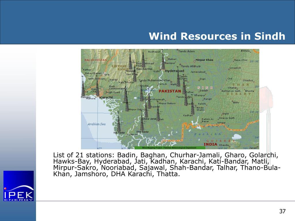Wind Resources in Sindh