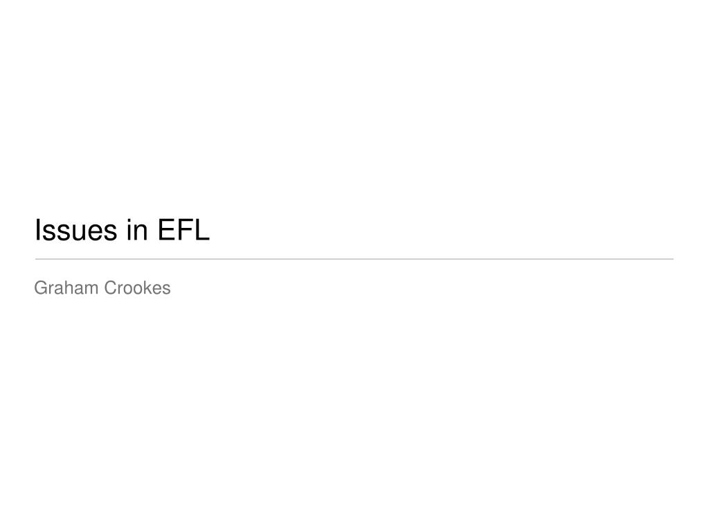 issues in efl