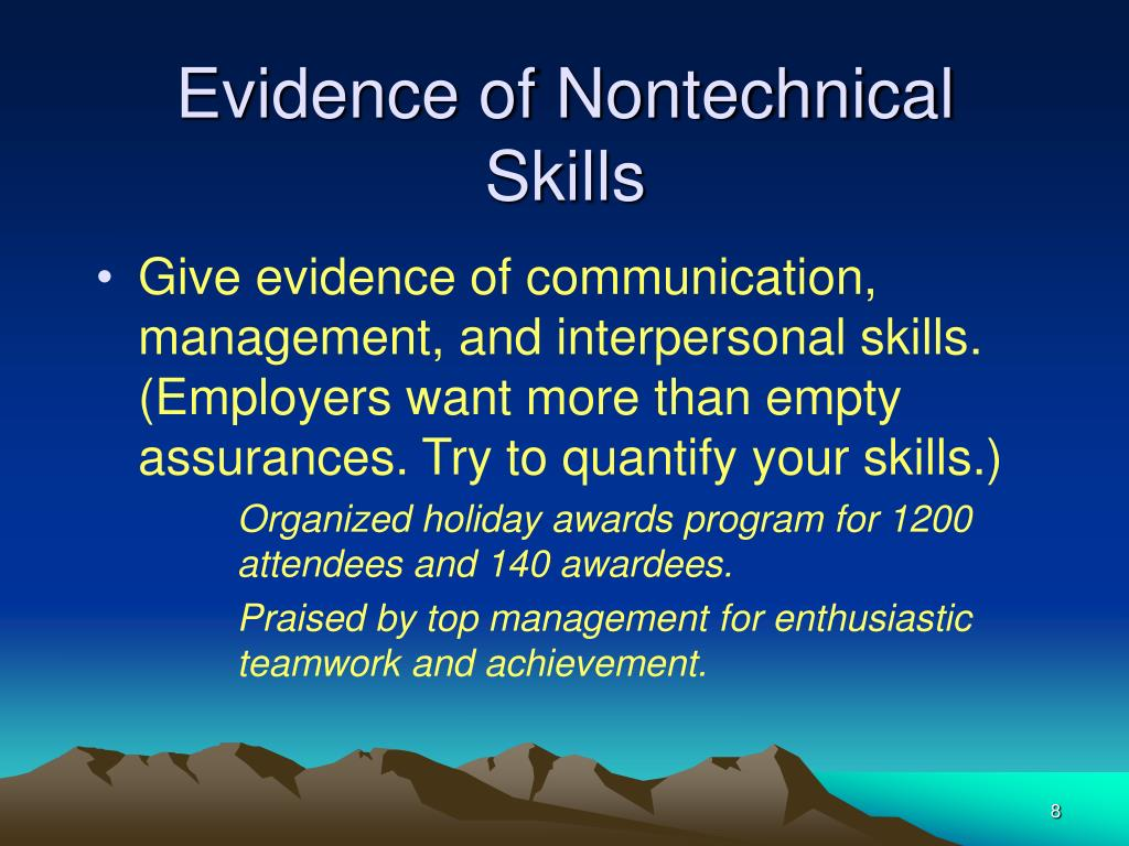 Evidence of Nontechnical Skills