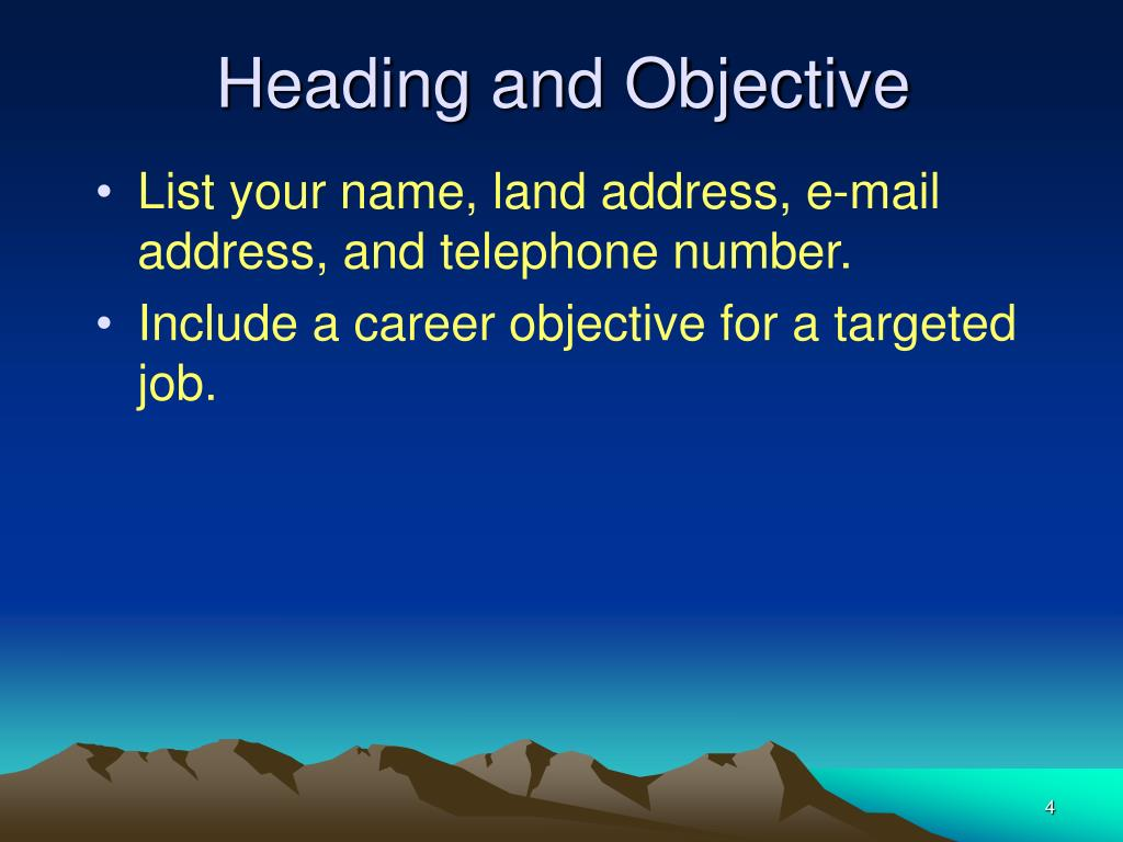 Heading and Objective