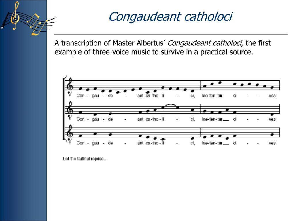 Congaudeant catholoci