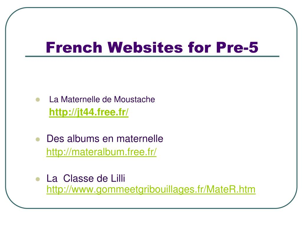 French Websites for Pre-5