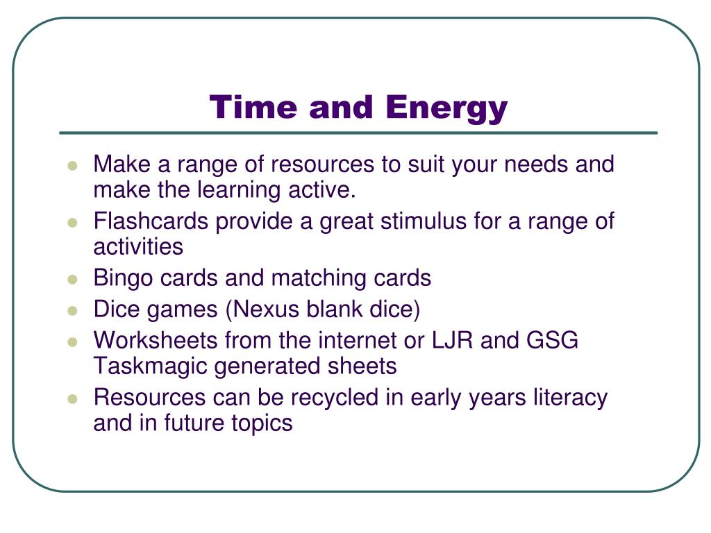 Time and Energy