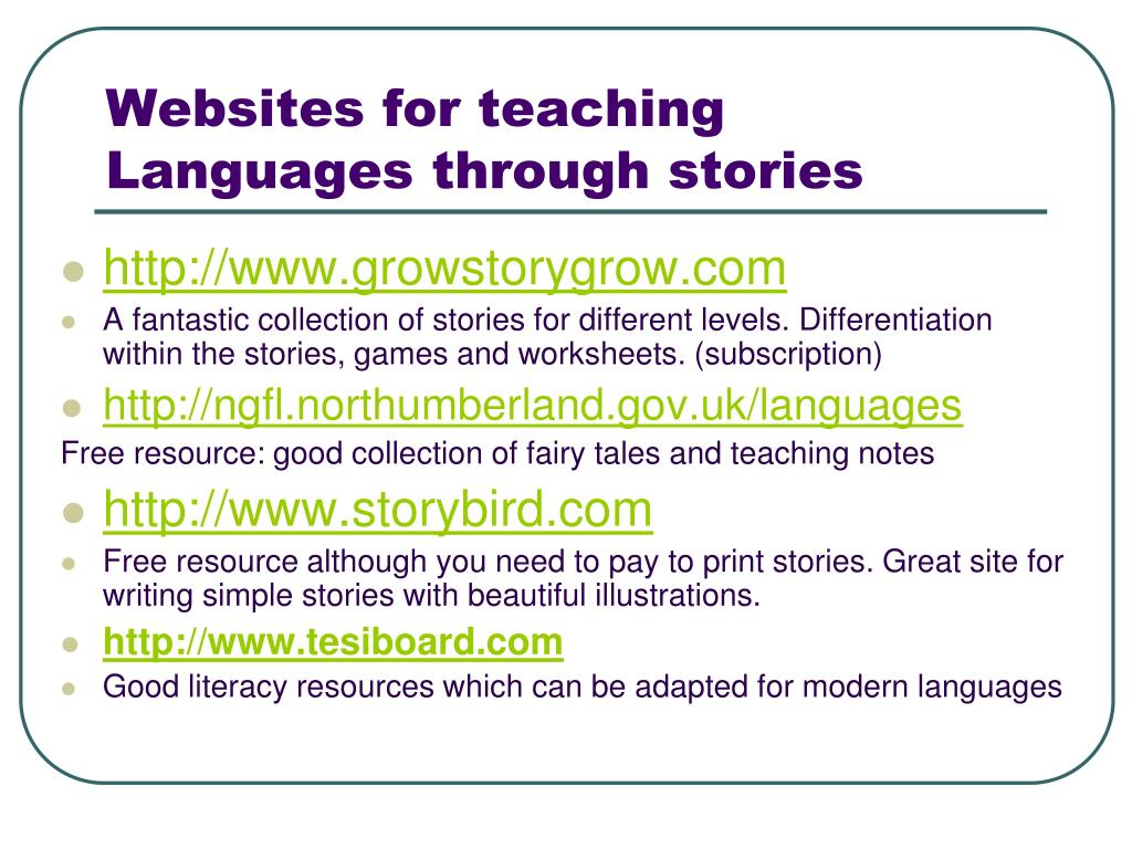 Websites for teaching Languages through stories
