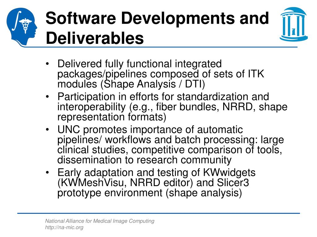Software Developments and Deliverables