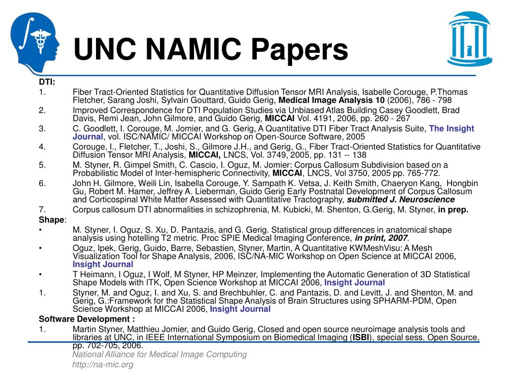 UNC NAMIC Papers