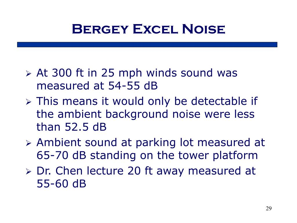 Bergey Excel Noise