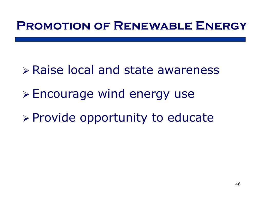 Promotion of Renewable Energy
