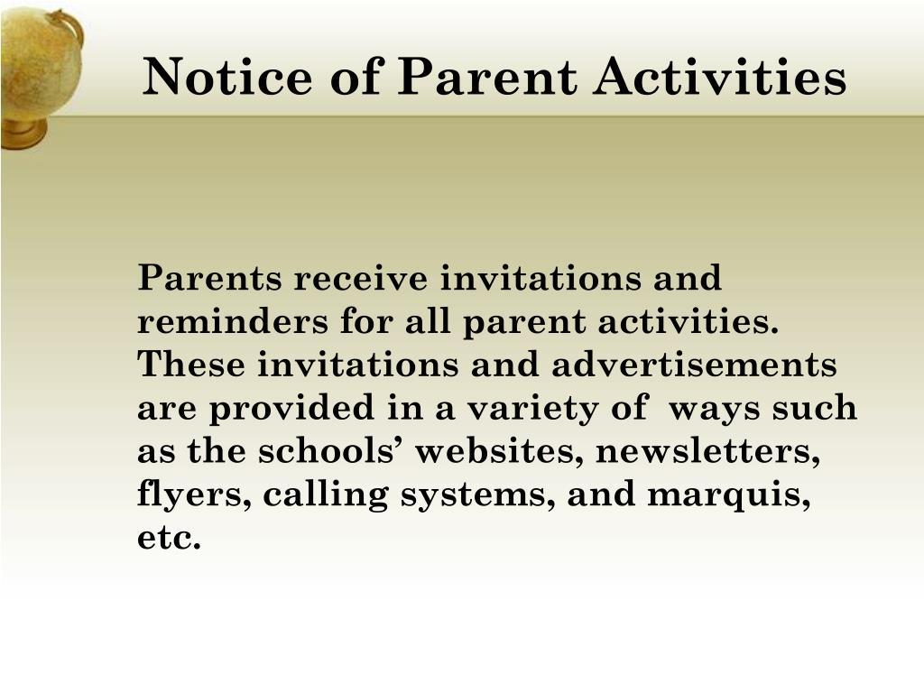 Notice of Parent Activities