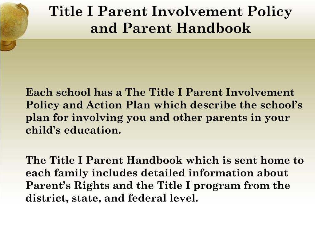 Title I Parent Involvement Policy and Parent Handbook