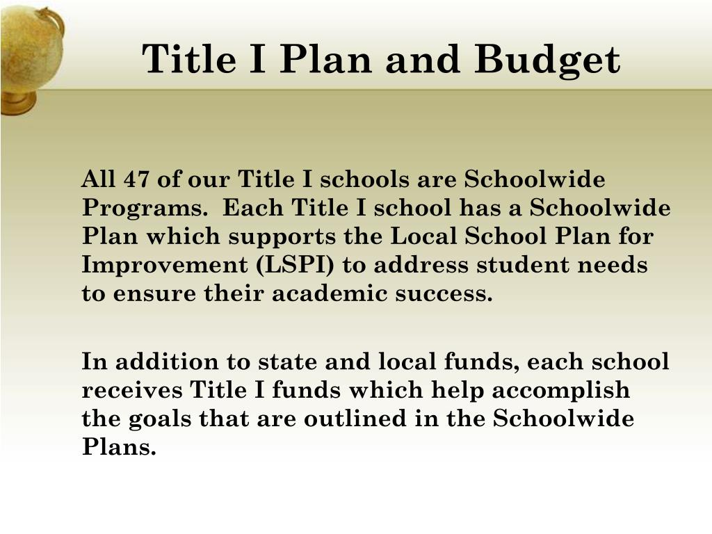 Title I Plan and Budget
