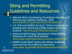 siting and permitting guidelines and resources