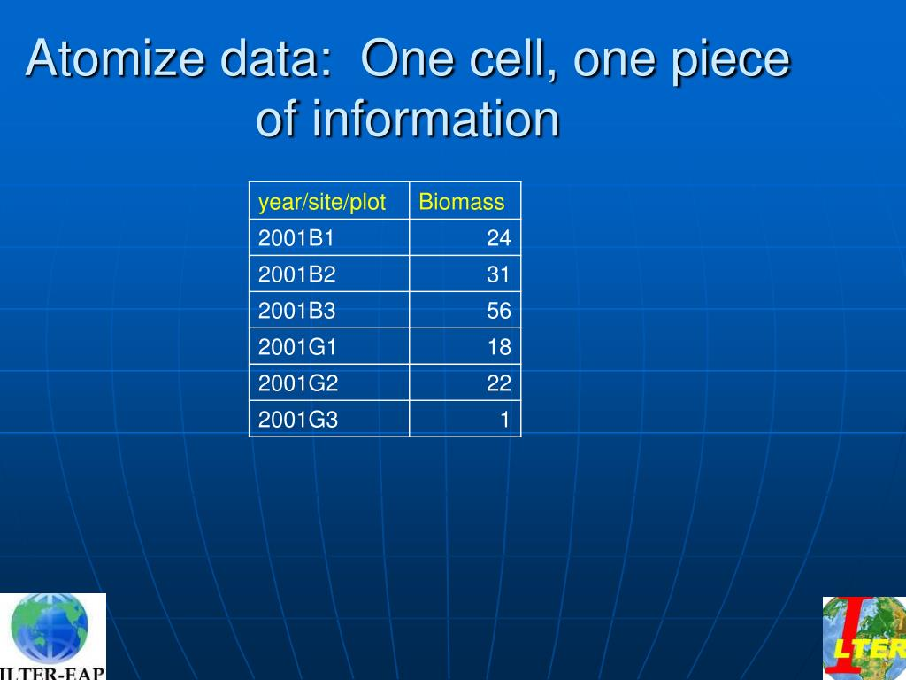 Atomize data:  One cell, one piece of information