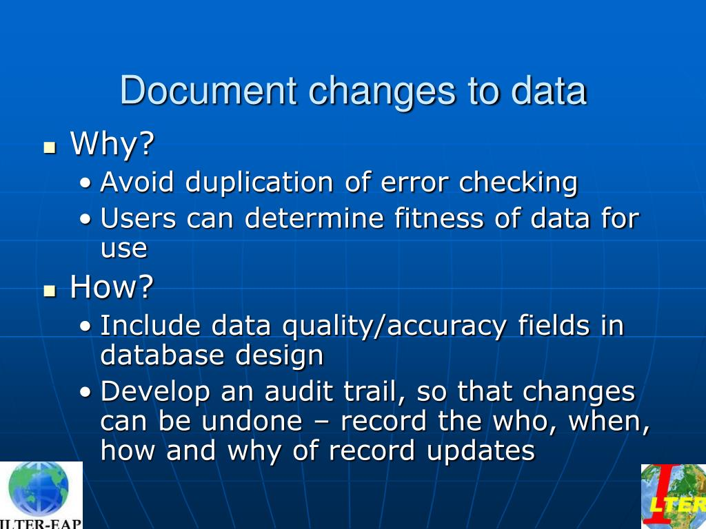Document changes to data