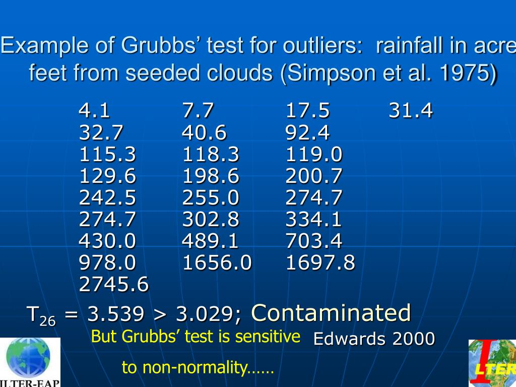 Example of Grubbs' test for outliers:  rainfall in acre-feet from seeded clouds (Simpson et al. 1975)