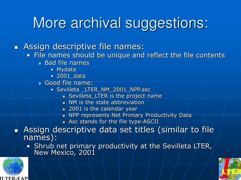 More archival suggestions: