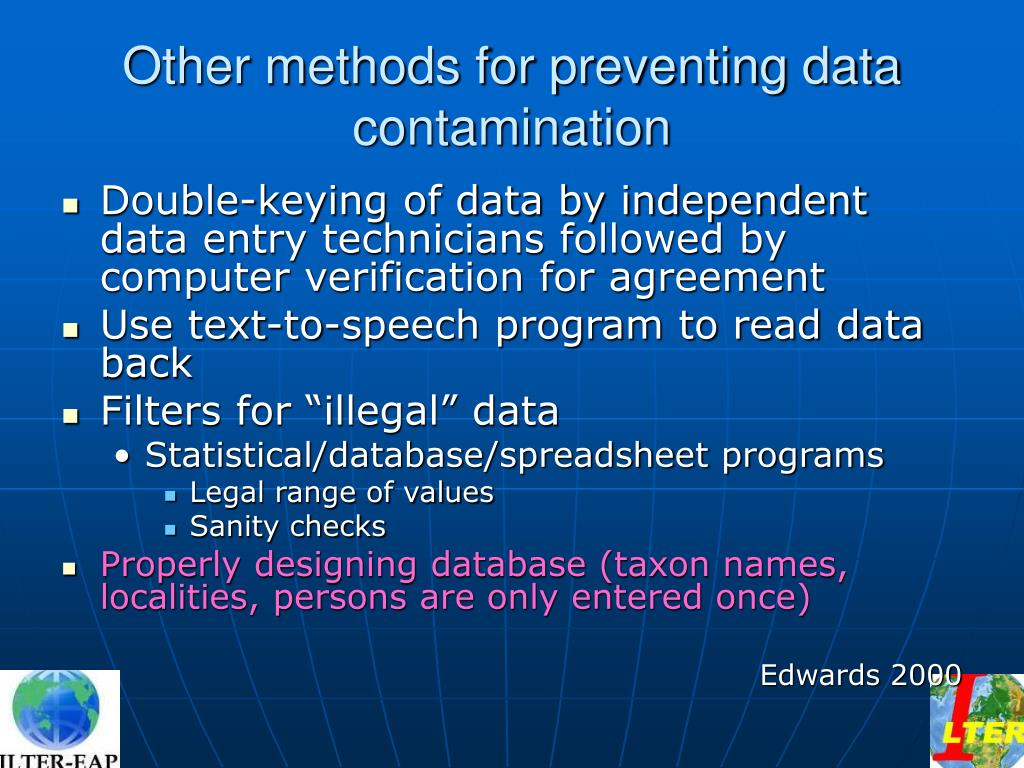 Other methods for preventing data contamination