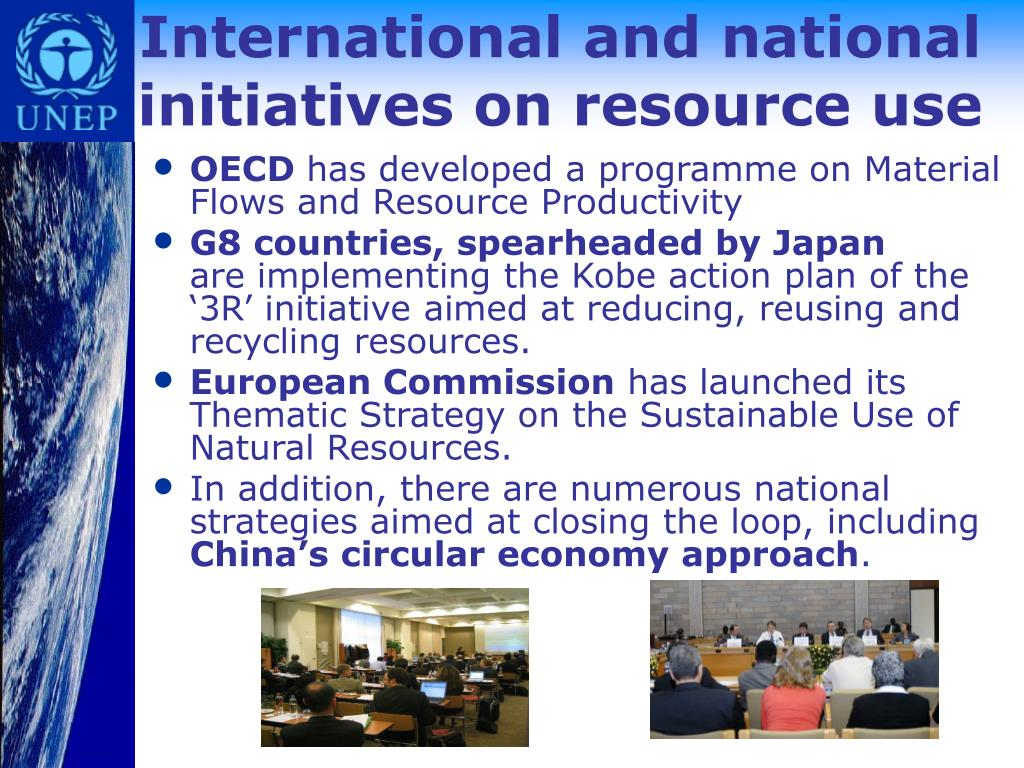International and national initiatives on resource use