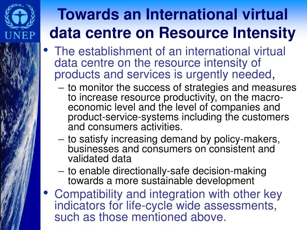 Towards an International virtual data centre on Resource Intensity