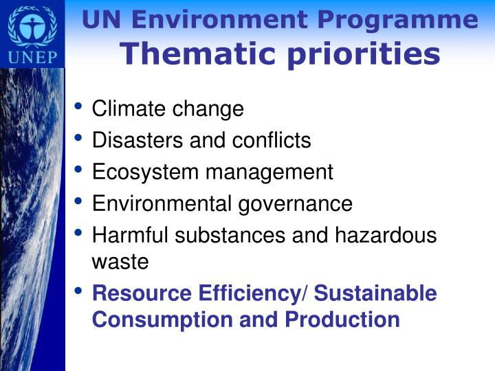 Un environment programme thematic priorities