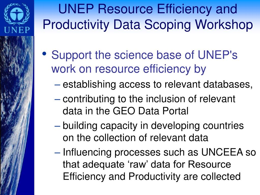 UNEP Resource Efficiency and Productivity Data Scoping Workshop