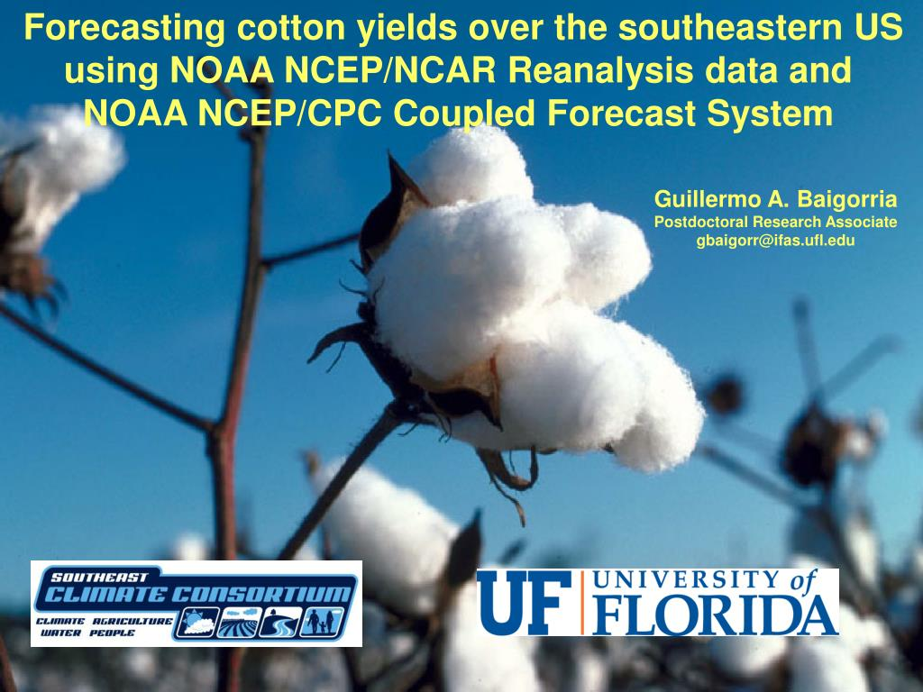 Forecasting cotton yields over the southeastern US