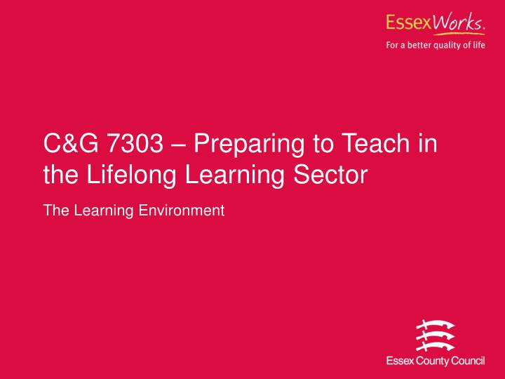 C g 7303 preparing to teach in the lifelong learning sector