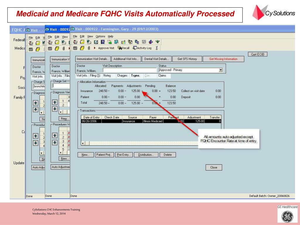 Medicaid and Medicare FQHC Visits Automatically Processed