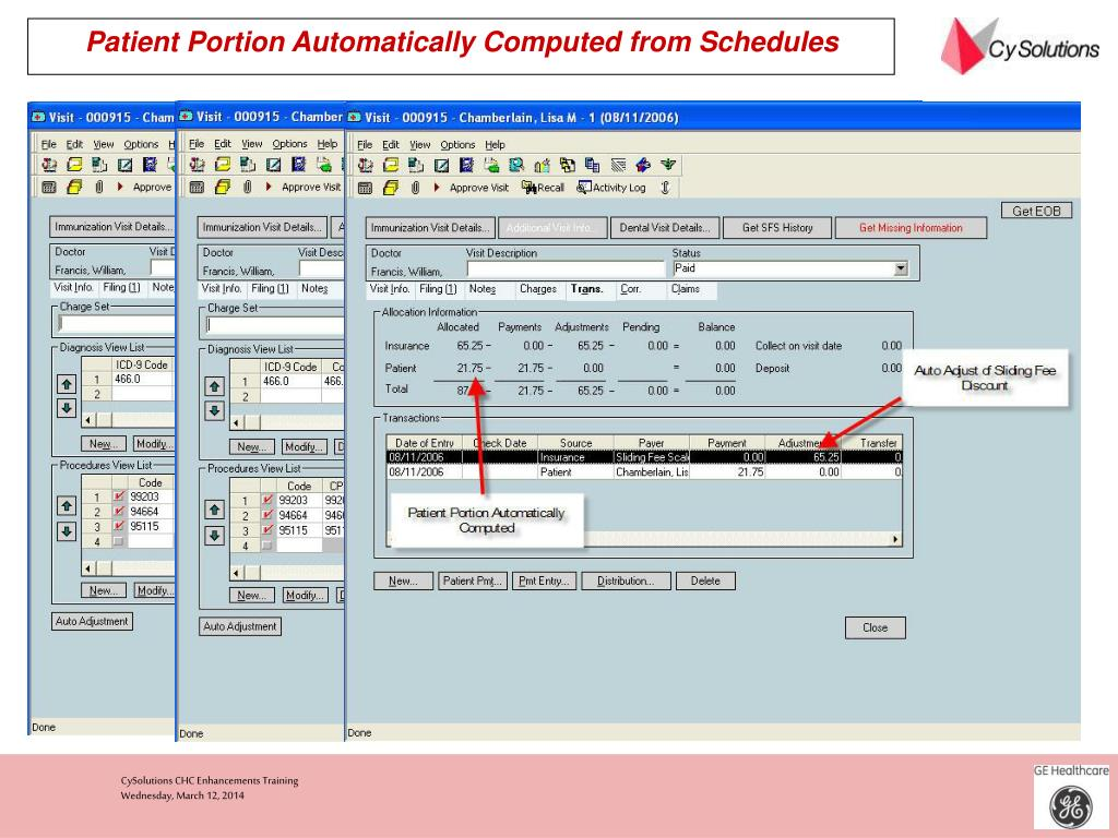 Patient Portion Automatically Computed from Schedules