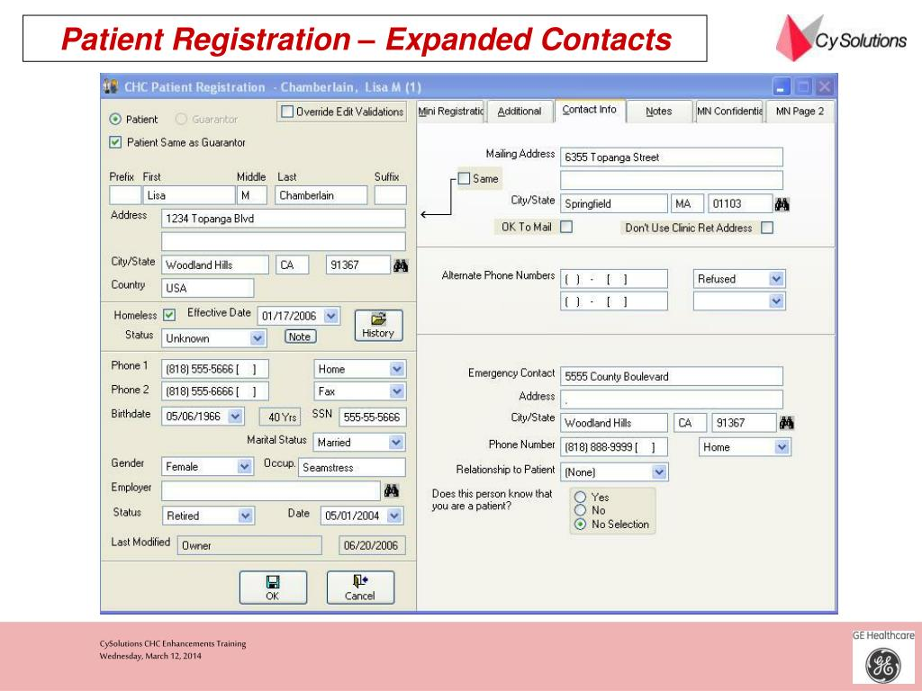 Patient Registration – Expanded Contacts