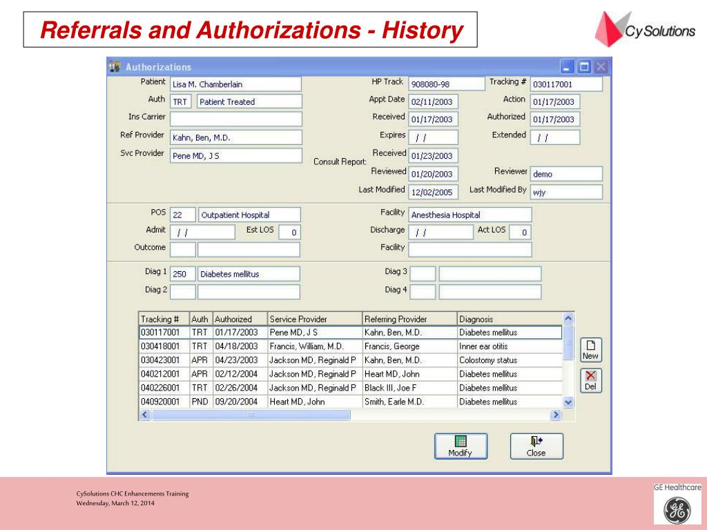 Referrals and Authorizations - History