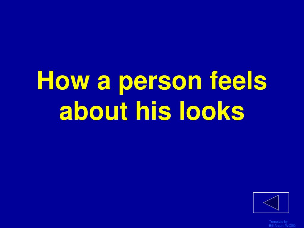 How a person feels about his looks