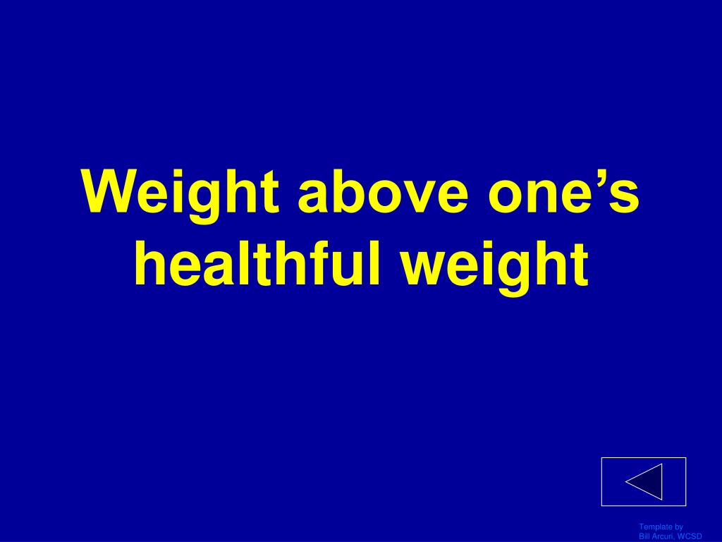 Weight above one's healthful weight
