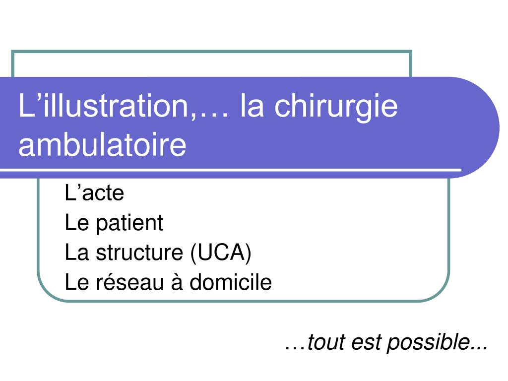 L'illustration,… la chirurgie ambulatoire