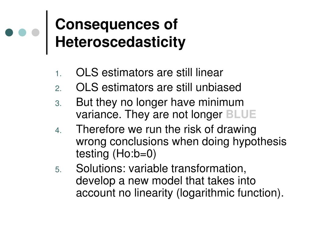 Consequences of Heteroscedasticity