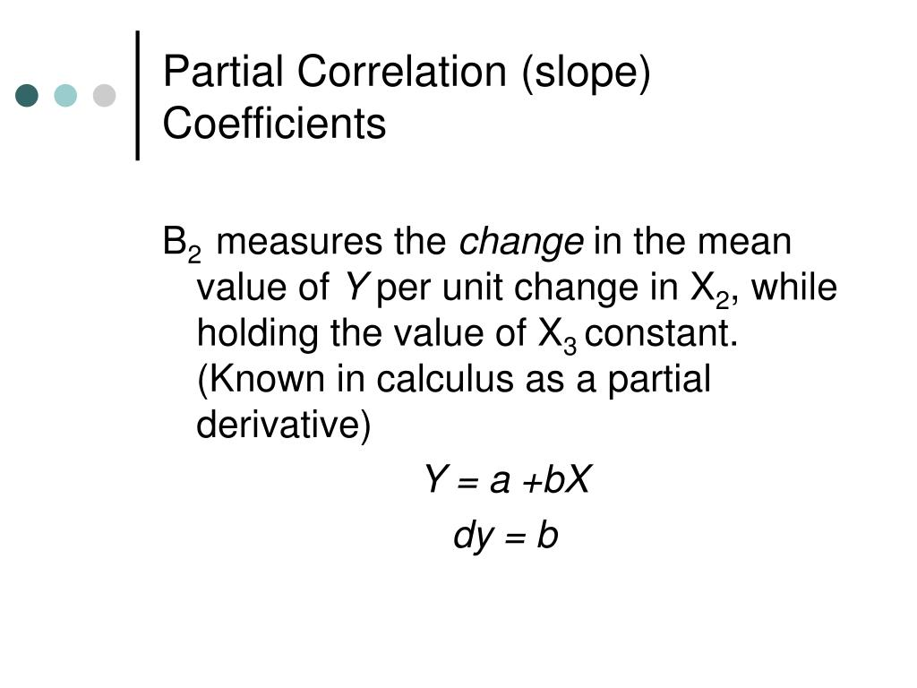Partial Correlation (slope) Coefficients