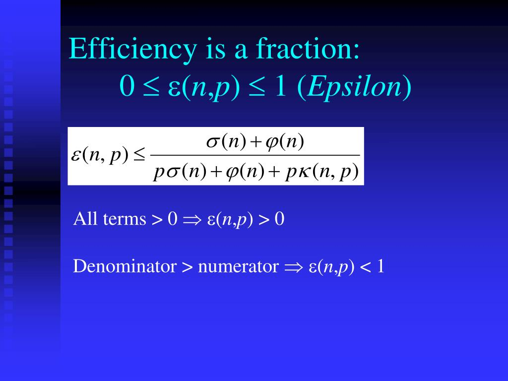 Efficiency is a fraction: