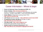 career information where to begin