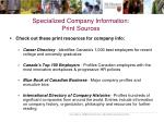 specialized company information print sources