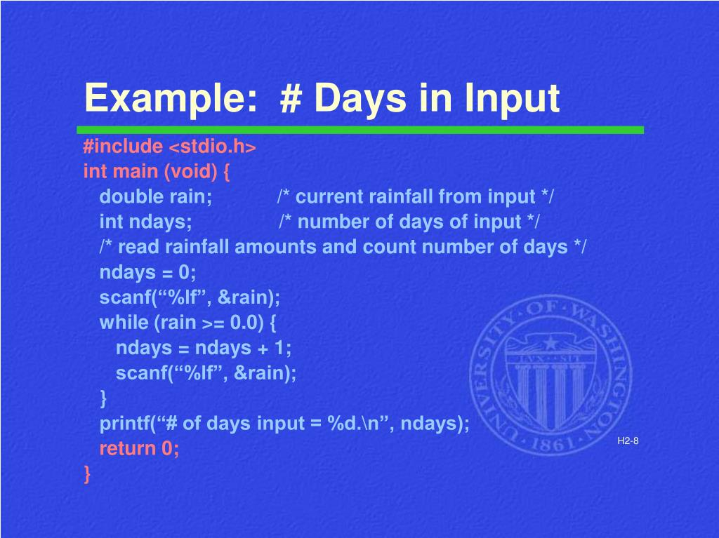 Example:  # Days in Input