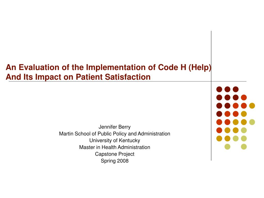 An Evaluation of the Implementation of Code H (Help)