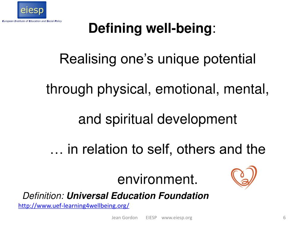 Defining well-being